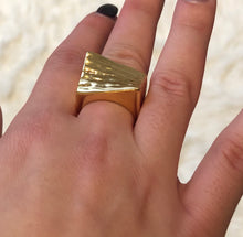 Load image into Gallery viewer, Gold Plated Geometric Ring, Statement Geometric Ring, Topaz Jewelry