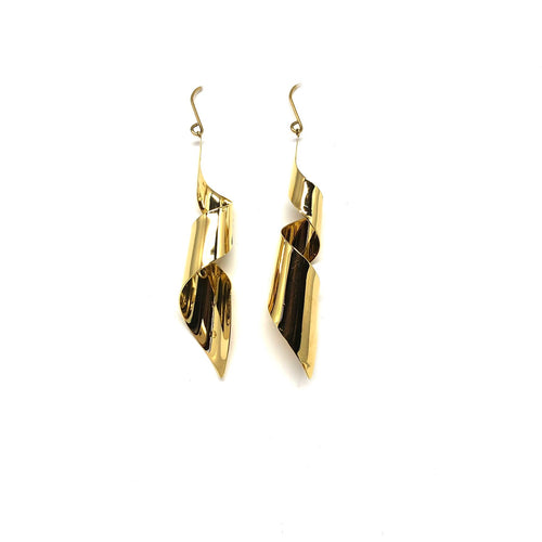 Gold Plated Statement Earrings,Twirl Gold Earrings ,Twisted Gold Earrings