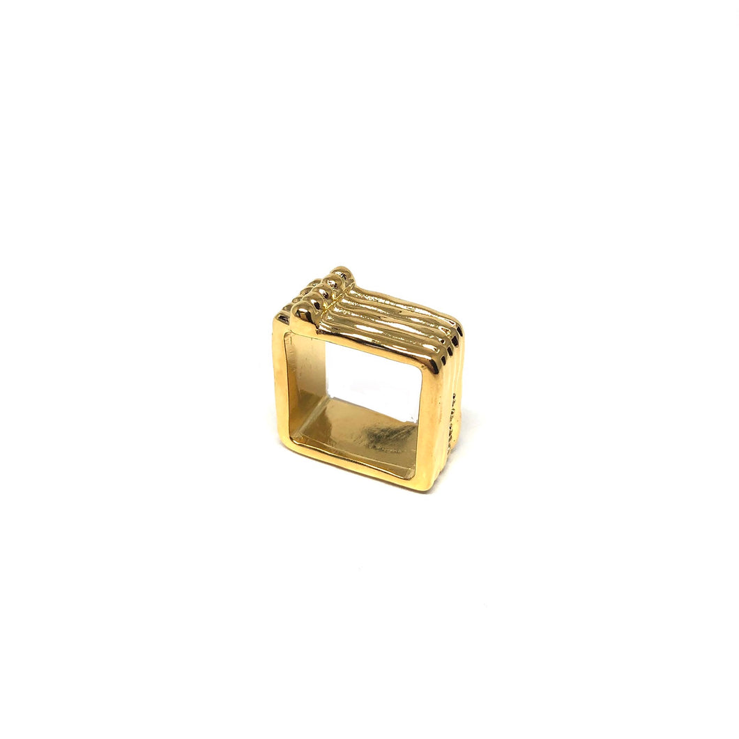 Gold Plated Square Ring, Square Statement Ring, Topaz Jewelry