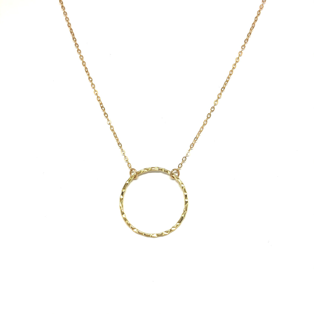 Gold Filled Open Circle Necklace ,Gold Open Ring Necklace,Topaz Jewelry