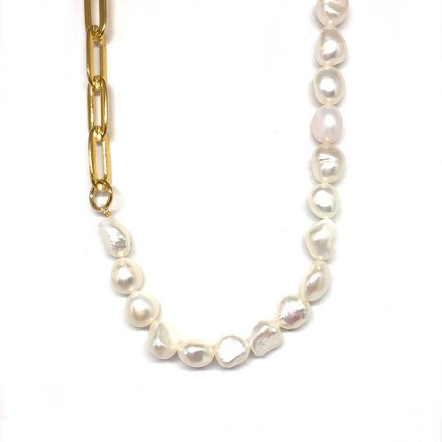 Gold Plated Links Chain Fresh Water Pearls Choker, Chunky Pearls Choker ,Topaz Jewelry