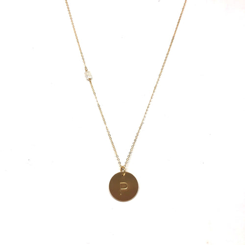 Initial P Necklace - Topaz Custom Jewelry