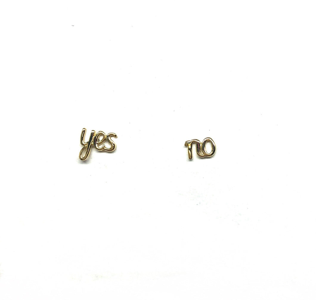 Yes No 10K Gold  Stud Earring - Topaz Jewelry