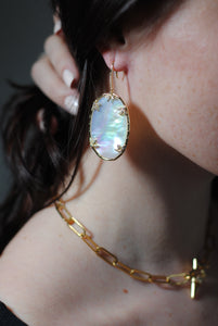 Mother of Pearl Statement Earrings,Mother of Pearl Oval Earrings,Topaz Jewelry.