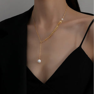 KTWO Jewelry Gold Stainless Steel Drop Y Pearl Necklace