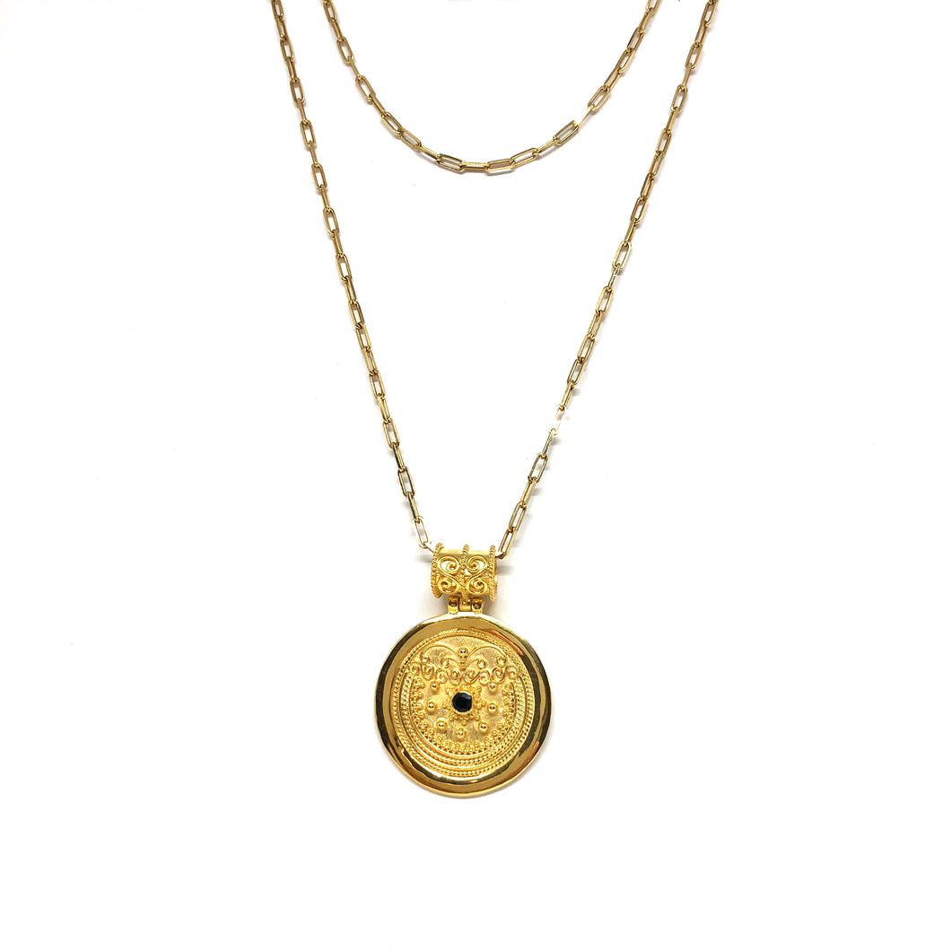 Gold Vermeil Medallion Pendant,Gold Medallion Necklace,Blue Sapphire Gold Medallion,Topaz Jewelry