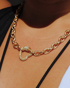 Matte Gold Heart Necklace,Heart Carabiner Pendant Necklace,Topaz Jewelry