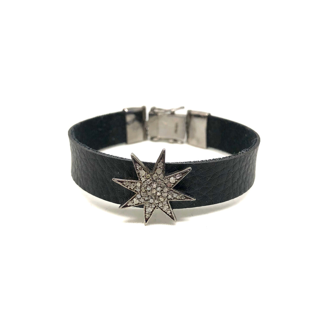 Black Diamond Icicle Star Leather Bracelet - Topaz Custom Jewelry