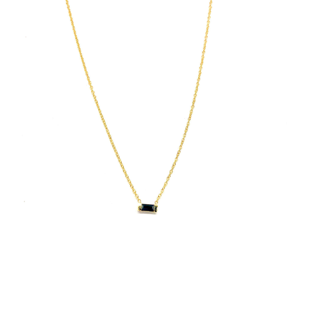 Black Baguette Necklace - Topaz Custom Jewelry