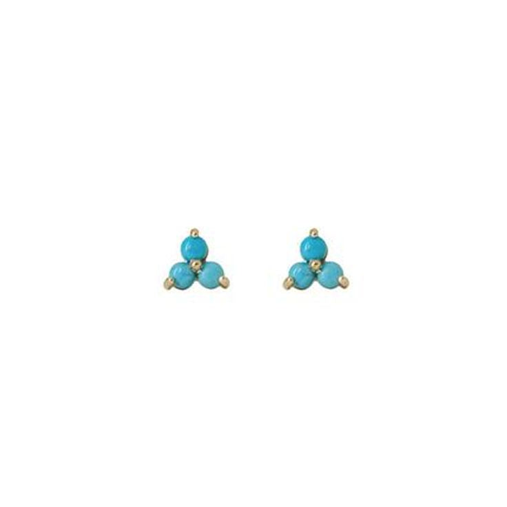 Turquoise Studs Earrings,14 Karat Tripod Studs Earrings,Tiny Tripod Earrings,Topaz Jewelry