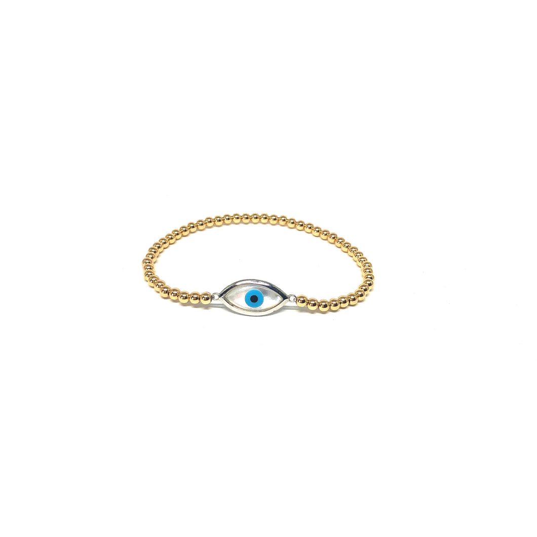 Evil Eye Bracelet,White Enamel Eye Bracelet,Topaz Jewelry
