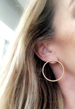Load image into Gallery viewer, Forever Gold Balls Open Circle Post Earrings - Topaz Custom Jewelry