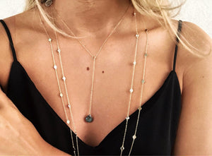 Gemstone Y Lariat - Topaz Jewelry
