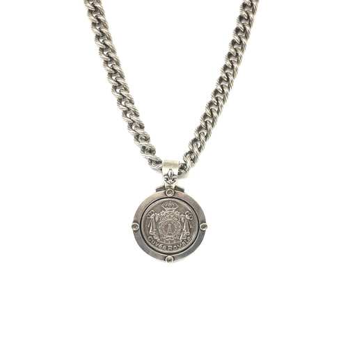 Silver Medallion Necklace, Statement French Medallion Necklace, - Topaz Jewelry