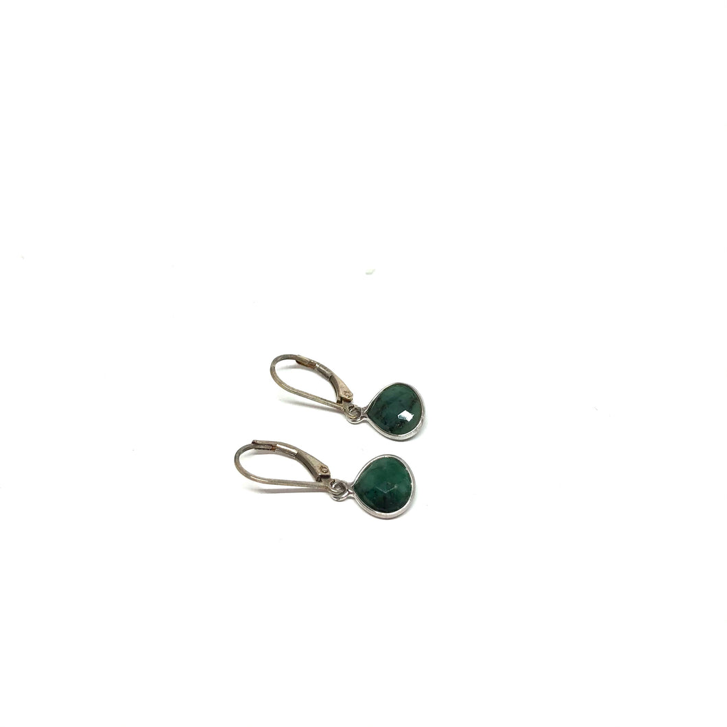 Green Emerald Pear Shape Earrings, Sterling Silver Leaver Back Green Earrings, Topaz Jewelry