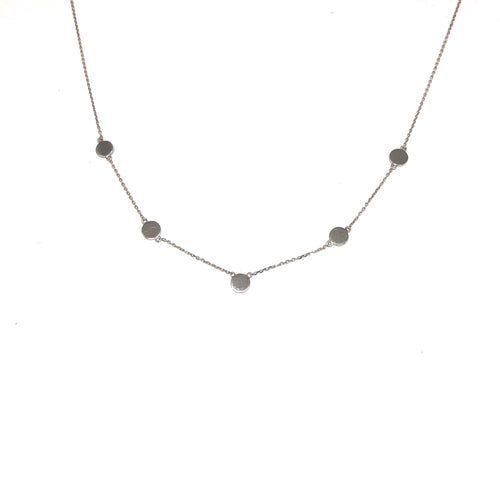 White Gold Disc Necklace,Five Disc Necklace - Topaz Jewelry