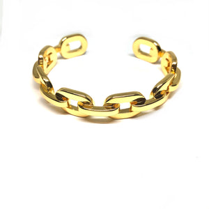 Gold Plated Thick Link Chain Cuff Bracelet ,Adjustable Gold Thick Chain Cuff Bracelet ,Topaz Jewelry