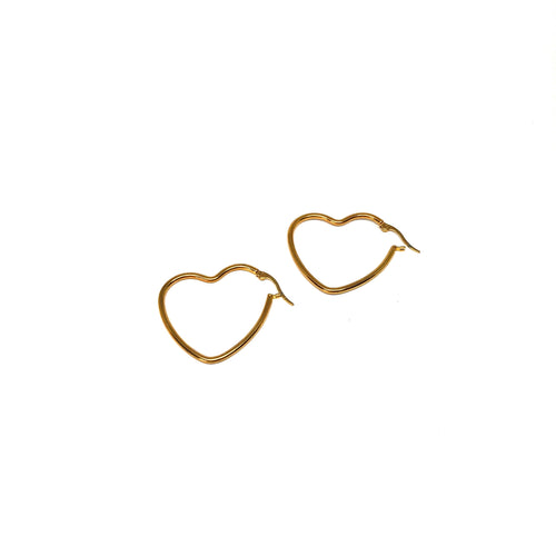 Heart Hoop Earrings,Gold Plated Heart Hoops,Topaz Jewelry