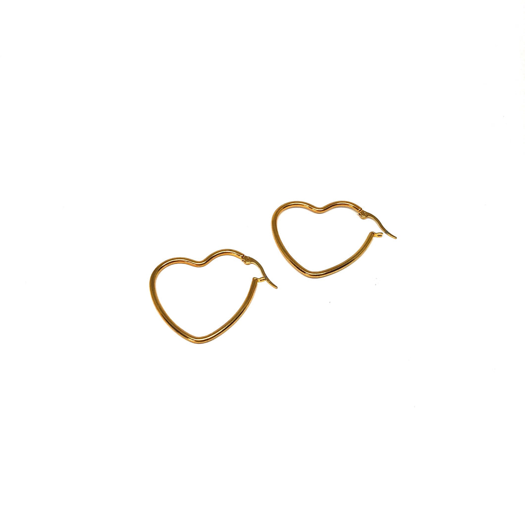 Small Heart Hoop Earrings,Gold Plated Heart Hoops,Topaz Jewelry