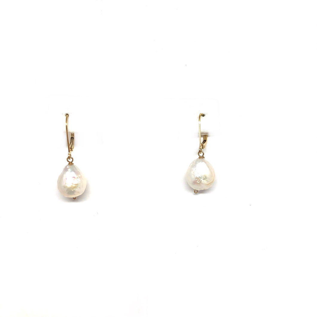 Pearl Earrings,Classic Pearl Earrings,Leaverback Pearl Earrings,Topaz Jewelry