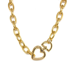 Chunky Gold  Plated Links Necklace,Gold Heart Clasp,Statement Links Necklace Topaz Jewelry