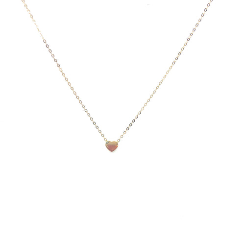 Gold Heart Necklace,10K Gold Tiny Heart - Topaz  Jewelry