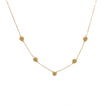 Load image into Gallery viewer, 10K Solid Gold Disc Necklace, Five Disc Necklace - Topaz Jewelry