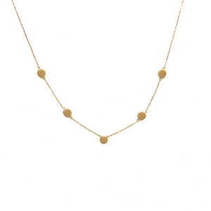 10K Solid Gold Disc Necklace, Five Disc Necklace - Topaz Jewelry
