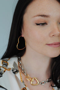 Medium Heart Hoop Earrings,Gold Plated Medium Hoop Earrings,Topaz Jewelry