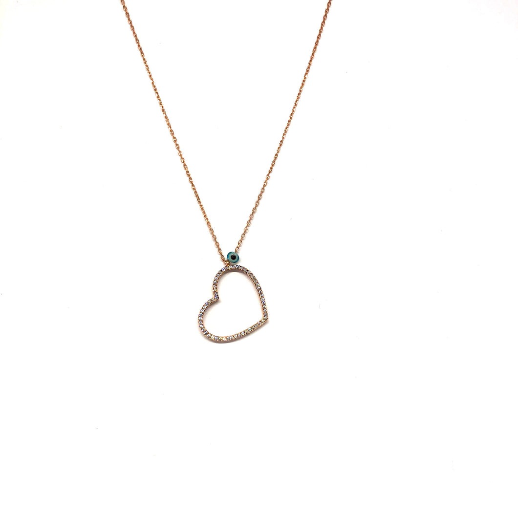 Rose Gold Open Heart Necklace ,Sideways Hanging Heart Necklace, - Topaz Jewelry