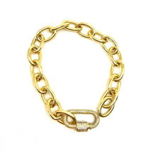 Load image into Gallery viewer, Gold Plated, Oval Links Small Bracelet, Gold Small Bracelet, Carabiner Clasp Oval Small Wrist Bracelet, Topaz Jewelry