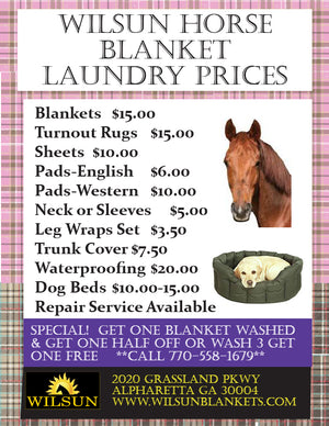 2018 Pricing for Wilsun Horse Laundry