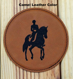 Leather Drink Coaster Set with Engraved Art