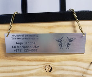 Engraved Emergency Contact Show Plate