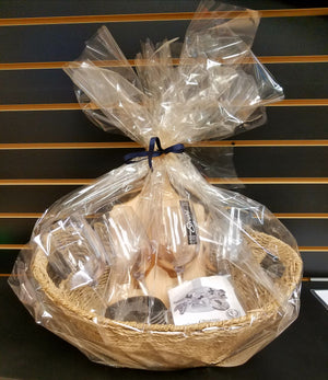 Custom Wine Glass Gift Basket with Engraved Art