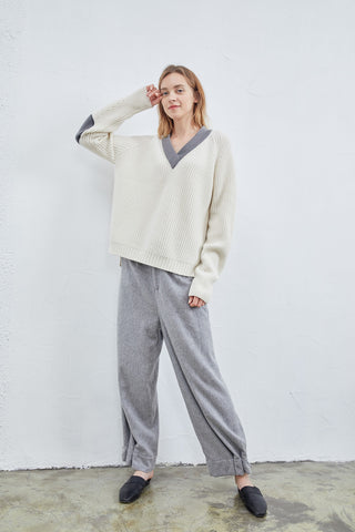 Wide-leg cashmere pants