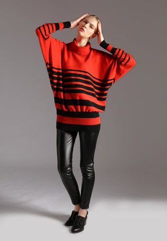 Ladies Oversized Striped Sweater