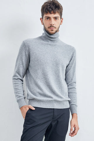 Turtle neck men's cashmere pullover