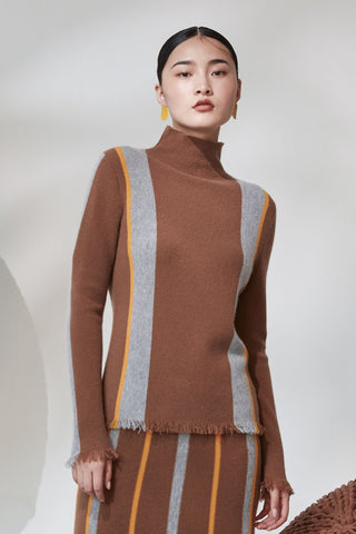 Funnel neck contrasting color 100% cashmere jumper