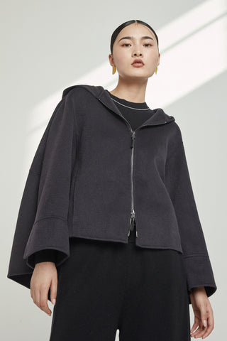 Hooded 100% cashmere jacket