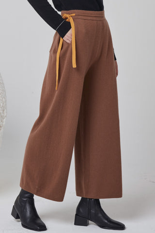 Wide-leg 100% cashmere cropped trousers