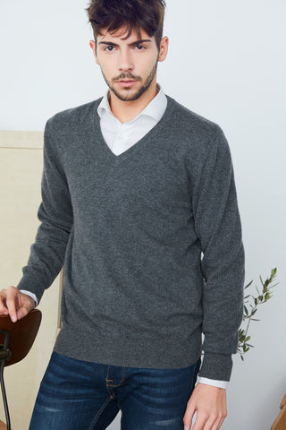 V-neck men's cashmere pullover