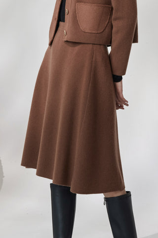Extra thick A-shaped cashmere skirt
