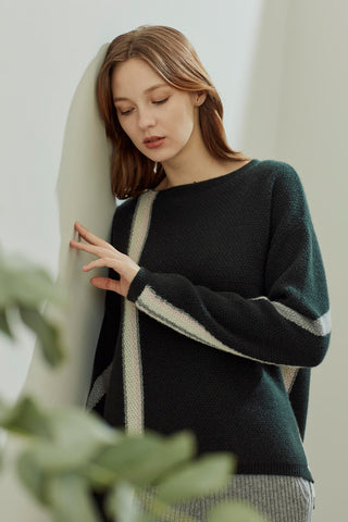 Crew neck pure cashmere jumper
