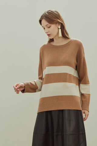 Thickened crew neck pure cashmere jumper