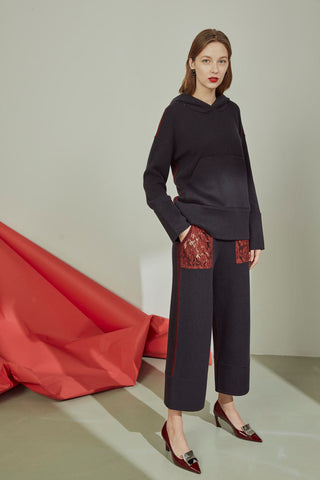 Pure cashmere wide leg trousers