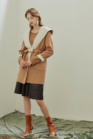 Pure cashmere reversible hooded coat