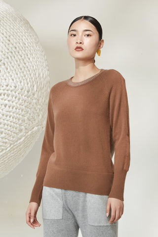 Joint stitch round neck 100% cashmere jumper