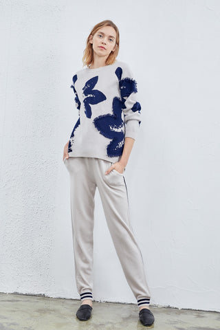 Extra thickened two-face woman's cashmere jumper / Sporty cashmere trousers