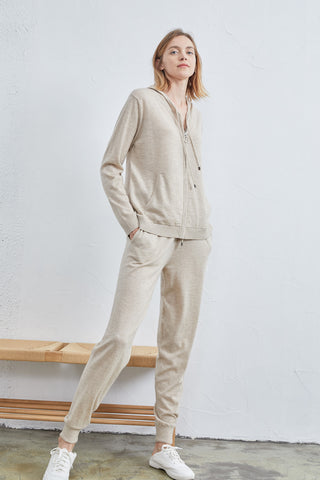 Sporty leisure simple hoodie / Wide-leg cashmere pants